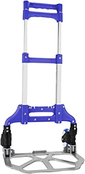 Homgrace Hand Truck and Dolly up to 150 lb Capacity Purple Adjustable Aluminum Folding Hand Cart with PU Rubber Wheels