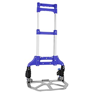 "Heavy Duty Hand Truck & Dolly - 150 lb. Capacity Aluminum Utility Cart with Adjustable Shaft, Folds Down to Just 2"" by Knack – Moving Equipment, Great for Lifting Boxes & Luggage (Blue)"