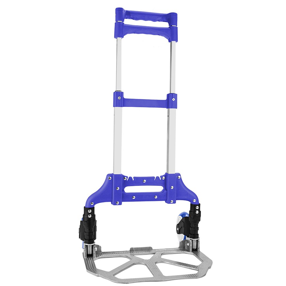 Heavy Duty Hand Truck & Dolly - 150 lb. Capacity Aluminum Utility Cart with Adjustable Shaft, Folds Down to Just 2'' by Knack – Moving Equipment, Great for Lifting Boxes & Luggage (Blue)
