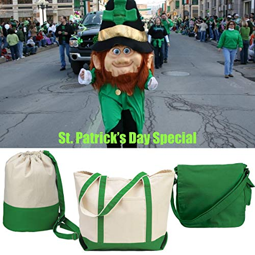 St. Patrick's Day Bags Package - Heavy Duty Canvas Tote, Drawstring and Messenger Bags in Clover Green (Tote & Duffel, St. Patrick ()