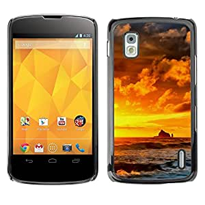 CASECO - LG Nexus 4 E960 - Sunset Rocks - Delgado Negro Plástico caso cubierta Shell Armor Funda Case Cover - Sunset Rocks