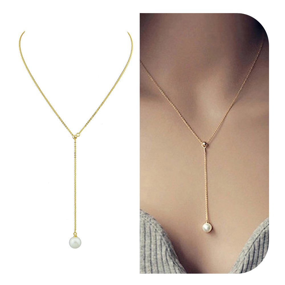 Costume Simulated-pearl Gold Silver Color Pendant Necklace Feelnear