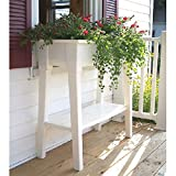 White Outdoor Patio 36'' Deluxe Large Garden Planter Flower Box Stand with Shelf