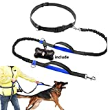 Bislong Hands Free Dog Leash for Large Dogs with Reflective Leash Heavy Duty Dog Leash- Adjustable Waist Belt for Dog Training Leash- Dual Bungees Leash Dual Handles With Poop Bag Holder (blue)