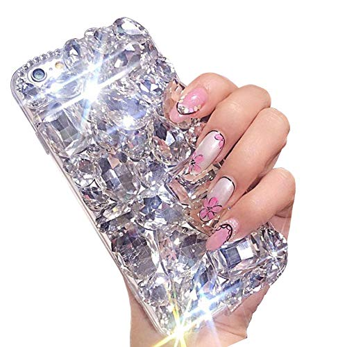 For iPhone 7 8 Cute Sparkle Jewels Case,Aearl TPU Soft Luxury 3D Handmade Stunning Stones Crystal Rhinestone Bling Full Diamond Glitter Shinning Cover with Screen Protector for iPhone 8 7 - Clear