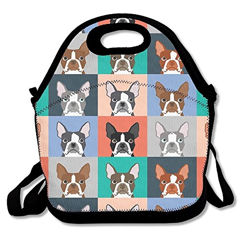 Boston Terriers Tile Bulldaog Pattern Multifunctional Lunch Tote Bag Carry Box Boston Tile Box