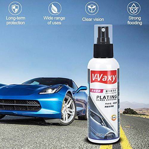 Car Window Glass Cleaner, Jessie storee Car Liquid Ceramic Coat Agent V-Vaxy Rainproof Agent Water Flooding Glass Rain Mark Oil Film Remover for Car Windshield Rearview (White B, 5.07 oz)