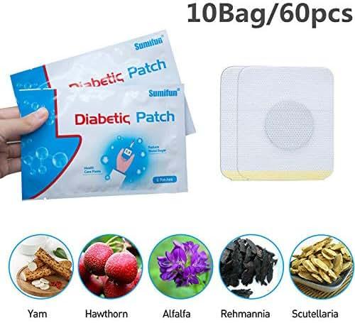 Wgch Diabetes Pads, Diabet Patch 10Bags/60 Pcs Diabetic Patch Pure Natural Herbs Diabetes Sticker Reduce High Blood Sugar Plaster Health Care