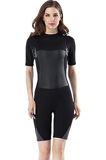 fec3458663e Micosuza Women s Wetsuit Premium Neoprene 2mm Short Sleeve Zip Back Shorty  Diving Suit Surfing Suit Snorkeling