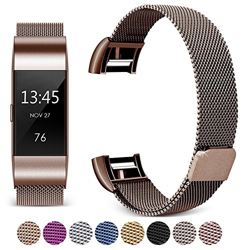 Gold Band Coffee ([Updated Solid Version] For Fitbit Charge 2 Magnetic Bands, Hotodeal Band Milanese Loop Stainless Steel Metal Replacement Bracelet Strap, Wristbands Accessories for Women Men, Coffee)
