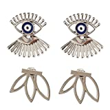 Calors Vitton 2Pairs Fashion Jewelry Lotus Flower and Evil Eye Eyelashes Stud Earrings Lucky Gift