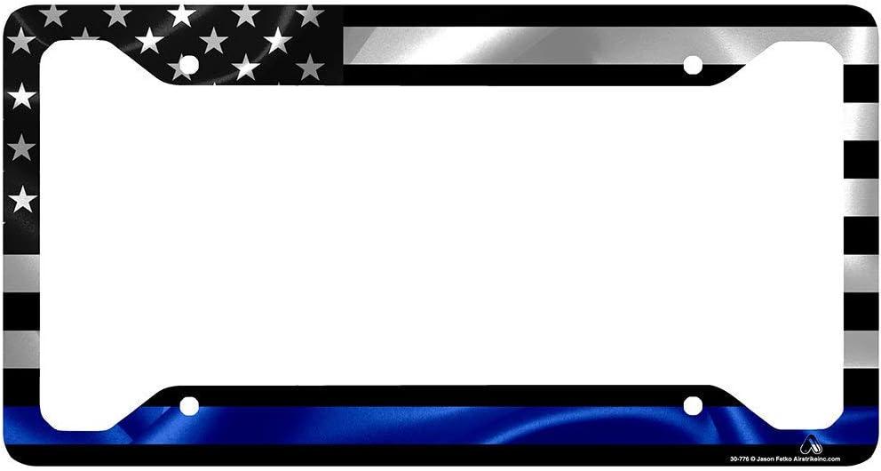 Personalized Frames American Flag License Plate Frame Thin Blue Line License Tag Holder Black Aluminum License Plate Frame