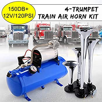 Image of 150DB Super Loud Train Horns kit for Trucks, 4 Air Horn Trumpet for Car Truck Train Van Boat, with 120 PSI 12V Compressor and Gauge (Blue) Electrical