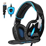 Image of SADES SA902 Gaming Headset Headphone Stereo 7.1 Channel USB wired with Mic Volume Control LED Light