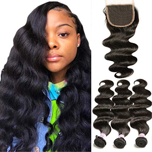 Beauty Forever Brazilian Weave Virgin Hair Body Wave 3 Bundles with 1 Piece 4x4 Free Part Lace Closure 100% Unprocessed Human Hair Extensions Natural Color (20 22 24+18Free Part)