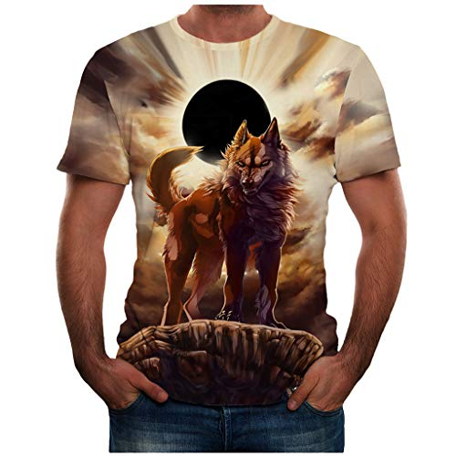 T Shirt 3D Animal Colorful Cool Printing Graphic Tee Shirts Summer New Full Plus Size Top Blouse for Men (XXXL,29- Yellow)]()