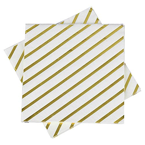Gold Foil Striped napkins,6.5''50counts,2Ply,Disposable Gold Napkins Perfect for Birthday,Wedding,Bachelorette Party,Babyshower,Bridalshower (Gold Foil Stripes, ()