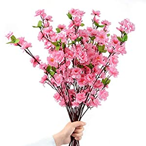 Pannow 10Pcs Spring Peach Blossom Cherry Plum Bouquet Branch Silk Flower,Artificial Flowers Fake Flower for Wedding Home Office Party Hotel Yard Decoration 104