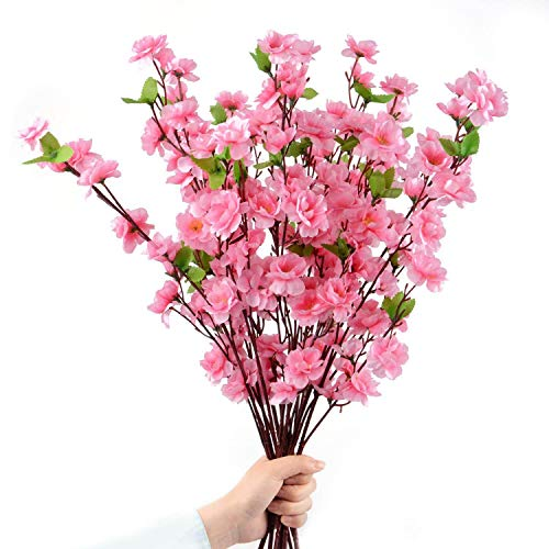 (10Pcs Spring Peach Blossom Cherry Plum Bouquet Branch Silk Flower,Artificial Flowers Fake Flower for Wedding Home Office Party Hotel Yard Decoration)