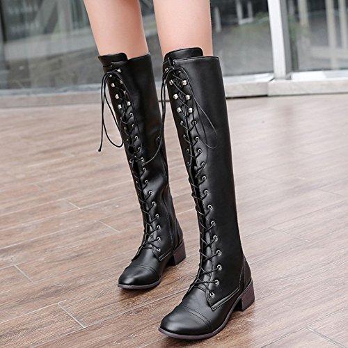 Boots Zipper Women's TAOFFEN Western Long Black SFpBA