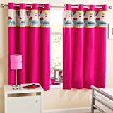 Just Contempo Kids Balloon Thermal Eyelet Curtains, Pink, 66 x 72-Inch