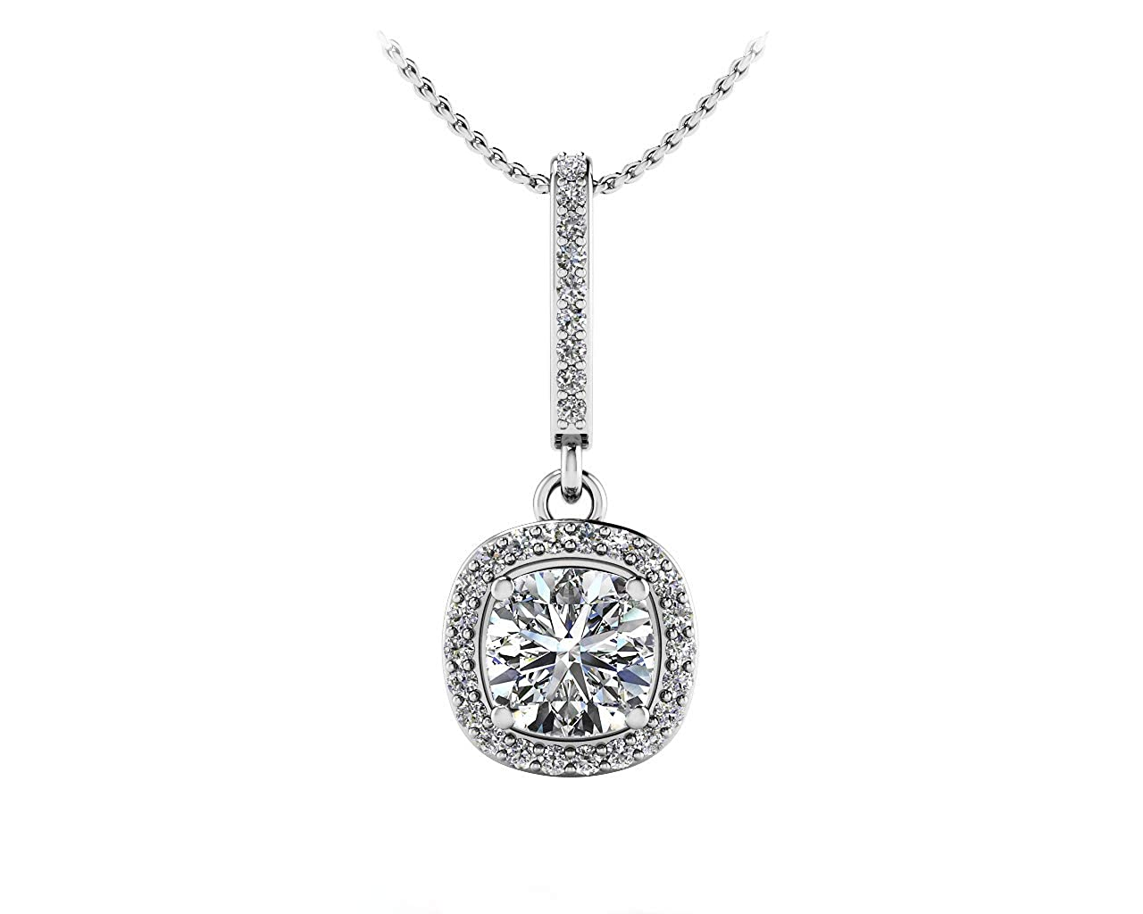 18 Chain Ringjewels 14K Gold Plated 0.52 Ct Cushion Cut Simulated Diamond Girls Drop Pendant Necklace