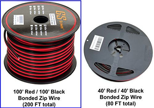 GS Power 16 Ga Gauge 100 Feet CCA Copper Clad Aluminum Red/Black Bonded Zip Cord Speaker Cable for Model Train Car Audio Radio Amplifier Remote Trailer Harness Home Theater LED Light Wiring