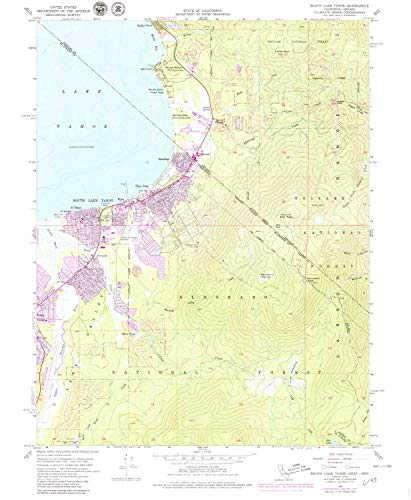 YellowMaps South Lake Tahoe CA topo map, 1:24000 Scale, 7.5 X 7.5 Minute, Historical, 1955, Updated 1974, 26.8 x 22 in - Tyvek