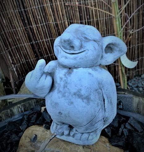 Steinfigur Wasserspeier Troll Garten Deko-Gartenfigur Koi Teich Wasserspucker
