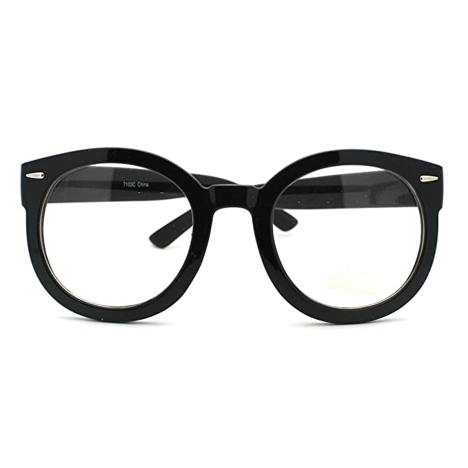 Amazon.com: Black Oversized Round Thick Horn Rim Clear Lens Fashion ...