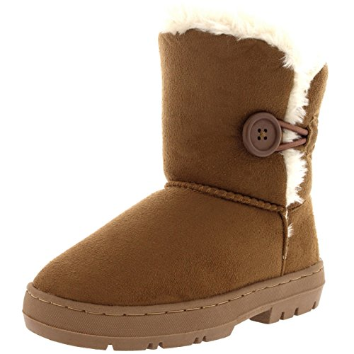 Holly Kids Girls Button Winter Snow Rain Cosy Casual Warm Boots - 4 - LTA36 (Cosy Winter Warmer)