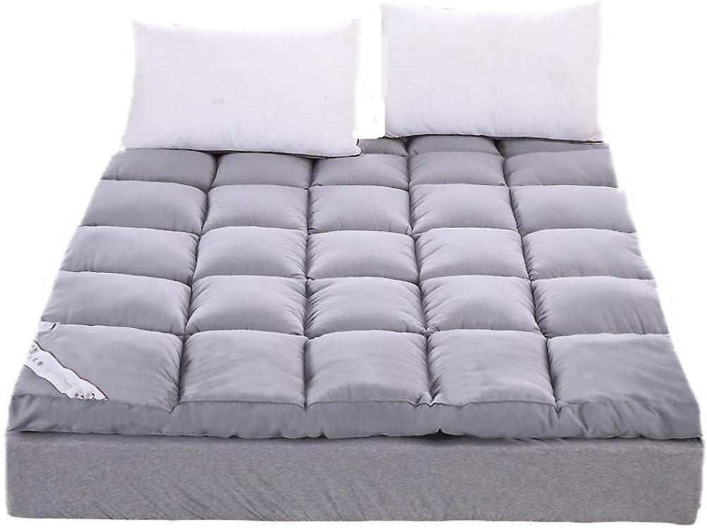 Thicken Floor futon mattresses Feather Velvet Mattress, Foldable Tatami Mattress Ultra Soft Dormitory Mattress, Fiber Mattress Topper-Gray Queen