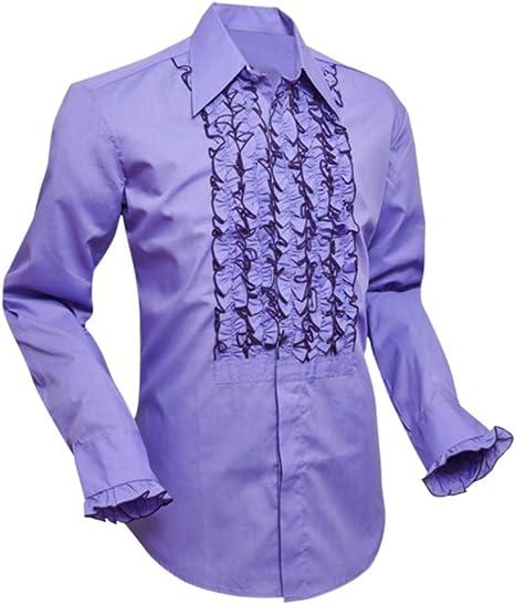 Chenaski - Camisa con Volantes, Color Morado: Amazon.es: Ropa ...