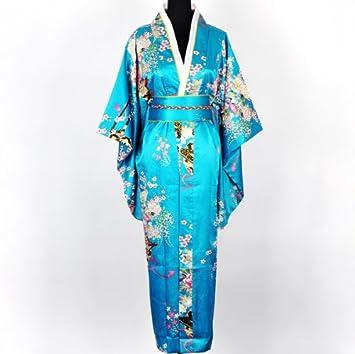 X Border Kimono Túnica Yukata Japonesa de lujo Vestido Azul Lago con Obi Talla Única