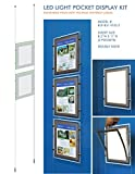 Suspended LED Light Pocket for Real Estate Window Displays - Cable Suspended Poster Display Kit with 2 (two) LED Light Pockets - Double Sided (Insert Size 8.5''W x 11''H)