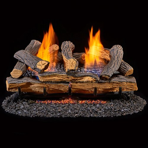 (Duluth Forge Ventless Natural Gas Log Set - 24 in. Split Red Oak - Manual Control)