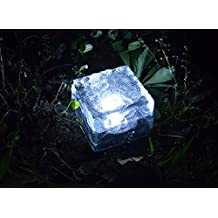 """Lightess 2.8"""" x 2.8"""" Frosted Glass Solar Brick Paver Light with 1 LED (Cold White)"""