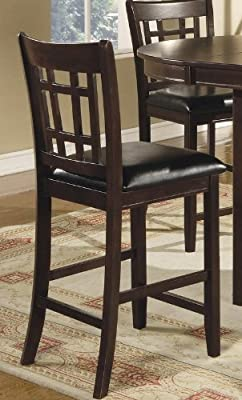 """Coaster Leather-Look 2-Piece Pub Chair, 24"""" height, Cappuccino/Black"""