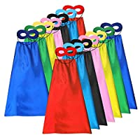 ADJOY Superhero Capes and Masks for Kids Bulk - DIY Children Capes for Birthday Party - 14sets(28pcs)