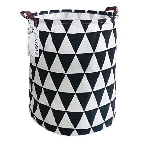 - FANKANG Storage Bins Nursery Hamper Canvas Laundry Basket Foldable with Waterproof PE Coating Large Storage Baskets Gift Baskets (Inverted Triangle)