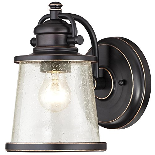 Westinghouse Lighting 6204000 Emma Jane One-Light Outdoor Wall Lantern, 1-Pack, Amber Bronze