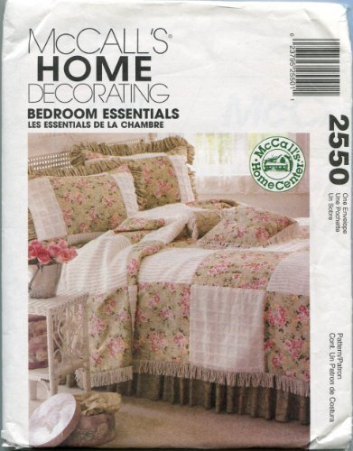 McCall's Home Decorating Sewing Pattern 2550 Bedroom Essentials - Quilt, Dust Ruffle, Pillows, Pillow Sham