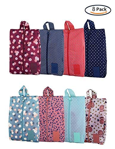 Xunlong Travel Shoe Bags Waterproof Portable Oxford Shoe Bags with Zipper Closure Storage Organizer Bag for Makeup Bathing Clothes (8 Pack)
