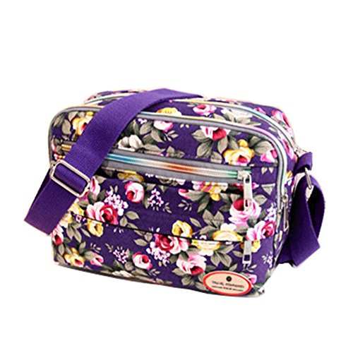 Shoulder Women Sling Bag Handbag ZOONAI Floral Purple Purse Crossbody Messenger Canvas dIqcBwa