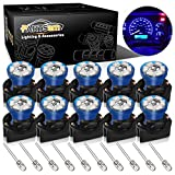 Partsam T10 194 168 Dash Instrument Blue LED Light Bulbs Bright Panel Gauge Cluster Dashboard LED Light Bulbs 10Pcs/Set with Twist Lock Sockets