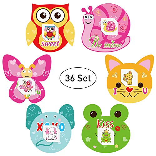 jollylife Valentine's Day Animal Cards Tattoos for Kids School Classmates Party Favors(Set of 36)