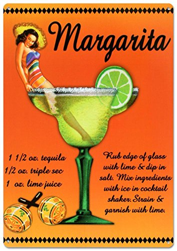 Margarita Drink Recipe Sexy Girl Tin Sign 12 x 17in