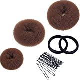 #7: Mudder 3 Pieces Donut Bun Maker Hair Bun Maker Ring Style Bun Maker Set for Chignon Hair Includes Large, Medium and Small (Light Brown)