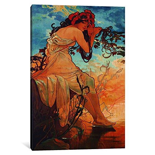 iCanvasART 1-Piece Summer Canvas Print by Alphonse Mucha,...