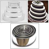 "EURO TINS 4 Tier Oval Multilayer Birthday Wedding Anniversary Cake Tins Pans 6"" 8"" 10"" 12"""